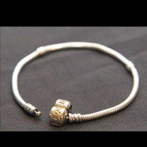 0a91a678e Pandora. Pandora Silver Charm Bracelet with 14k Gold Clasp